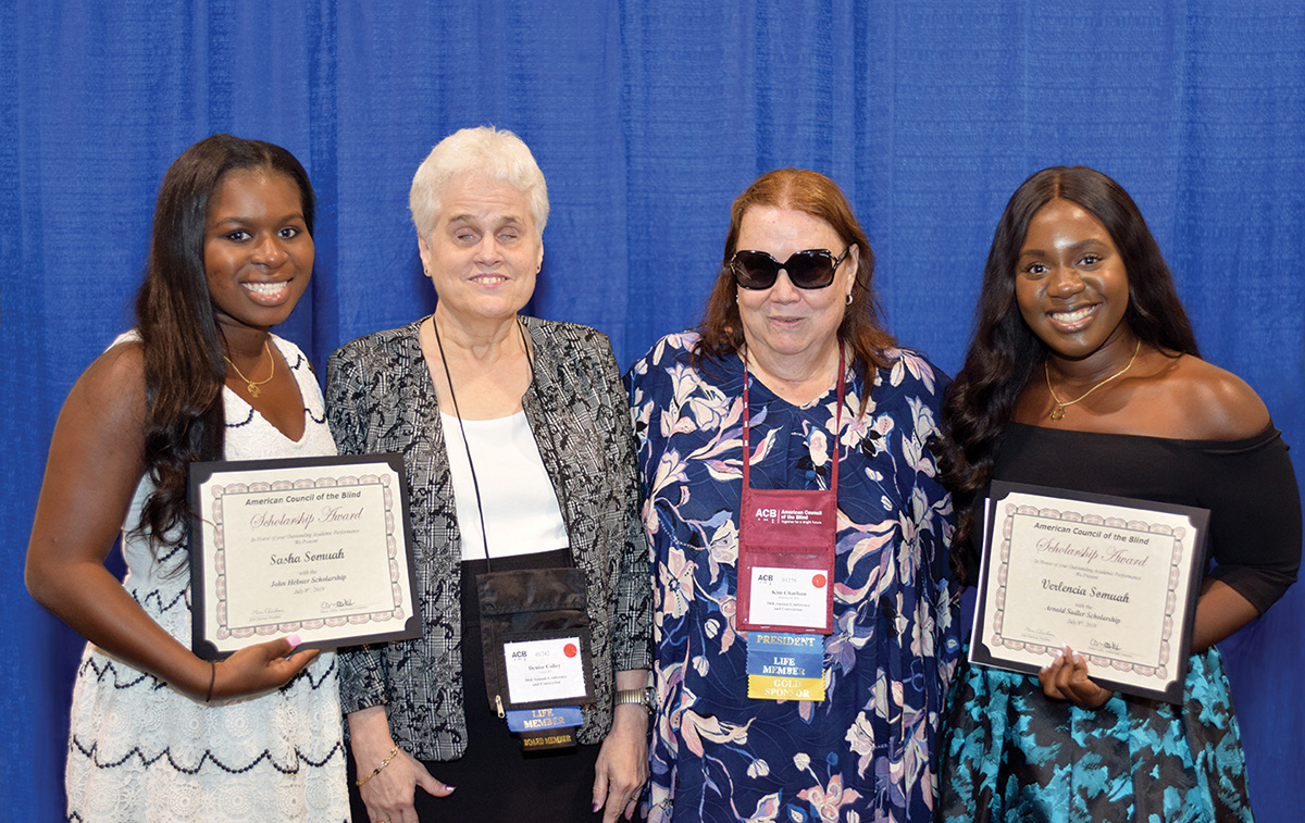 2019 scholarship winners Sasha and Verlencia Somuah with Scholarship Committee chair Denise Colley and Immediate Past President Kim Charlson.